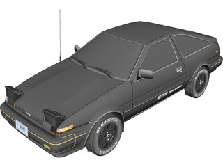 Toyota Corolla GT-S AE86 (1983) 3D Model 3D Preview