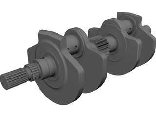 Honda VFR 400 NC30 Crankshaft CAD 3D Model