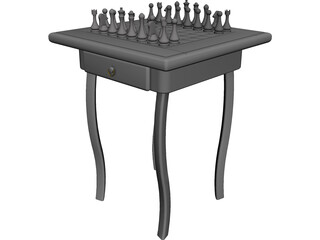 Chess Desk CAD 3D Model