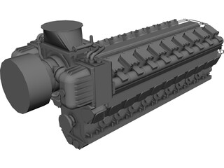 Engine Diesel 18V48/60 CAD 3D Model