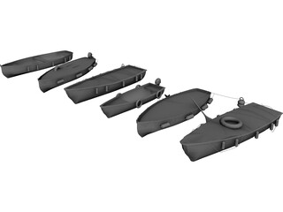 River Fishing Boats Set 3D Model