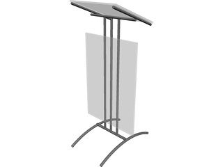 Glass Lectern Podium 3D Model