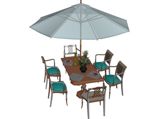 Chairs and Table Garden 3D Model