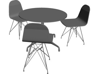 Eames Seatings and Table 3D Model