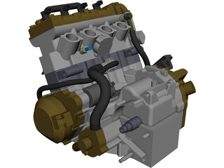 Kawasaki zx600 Engine CAD 3D Model