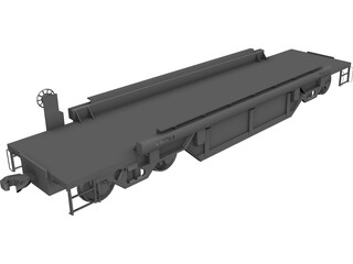 Flat Bed Train Carriage 3D Model
