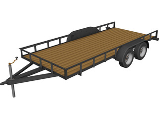 Car Hauling Trailer CAD 3D Model
