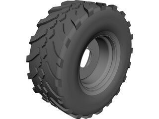 Whell and Tyre 650 65R30.5 CAD 3D Model