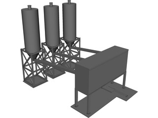 Concrete Batching Plant 3D Model