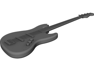Bass Guitar Four String CAD 3D Model