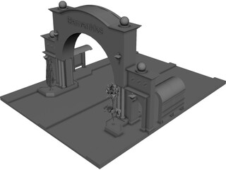 Welcome Arch Town Entry 3D Model