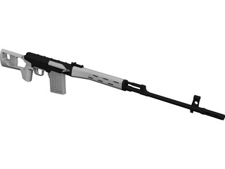 SVD Dragunov Sniper Rifle CAD 3D Model