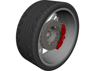 Wheel/Tire with Caliper and Rotor CAD 3D Model