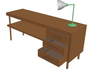 Table and Lamp CAD 3D Model