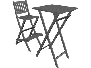 Bar Chair and Table 3D Model