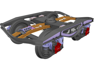 2 Axle Wheel Set CAD 3D Model