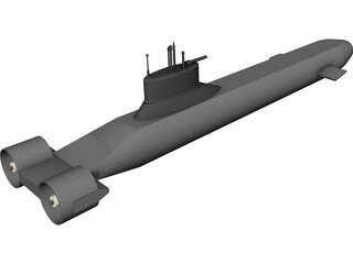 Typhoon Submarine CAD 3D Model
