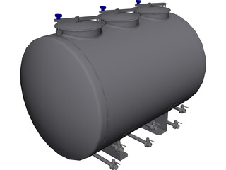 Horizontal Tank 1500L CAD 3D Model