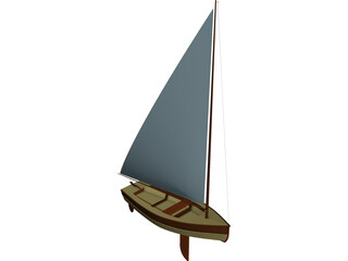 Wooden Sailboat 3D Model