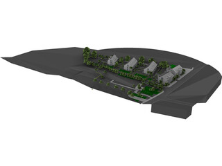 Settlement with 12 Buildings 3D Model