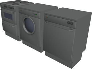 Stove, Washingmachine, Dishwasher 3D Model
