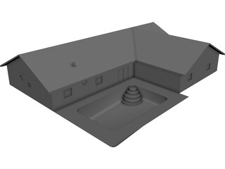 House Urban Interior and Pool 3D Model
