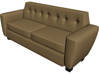 Couch Leather Art Decco 3D Model