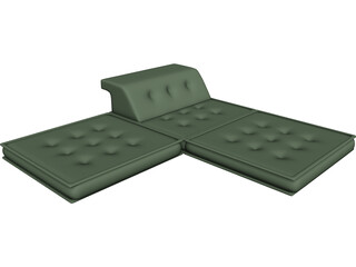 Floor Futon and Pillows 3D Model