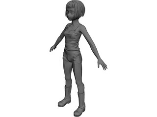 Female Character Young 3D Model
