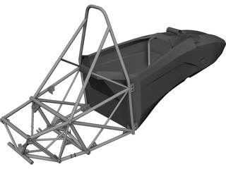 Formula SAE Monocoque and Frame CAD 3D Model