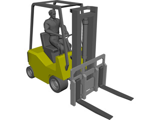 Forklift with Operator 3D Model