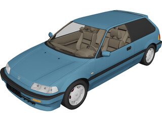 Honda Civic IV Hatchback (1987) 3D Model