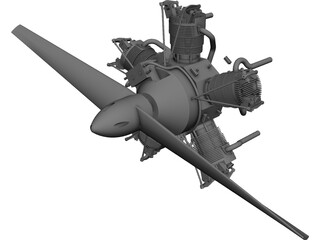 Motor Radial Engine CAD 3D Model