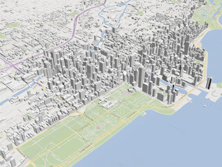 Chicago City 3D Map, USA 3D Model