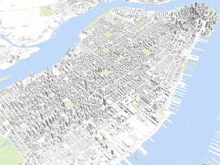 New York City 3D Map, Manhattan, NYC, USA 3D Model