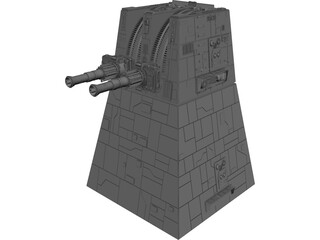Star Wars Death Star Trench Turbo Laser Cannon Turret 3D Model