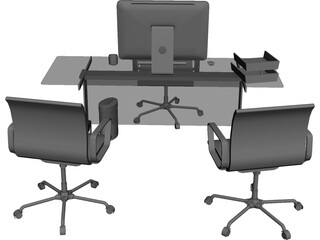 Office Desk and Chairs 3D Model