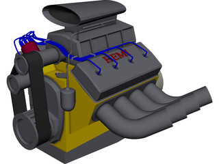 Hemi V8 Engine 3D Model
