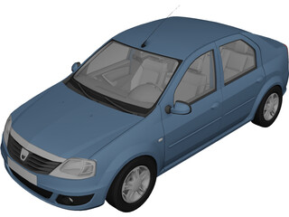 Dacia Logan (2009) 3D Model 3D Preview