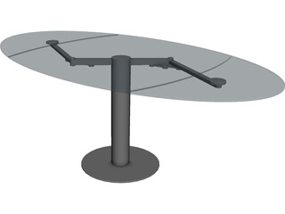 Oval Glass Table 3D Model