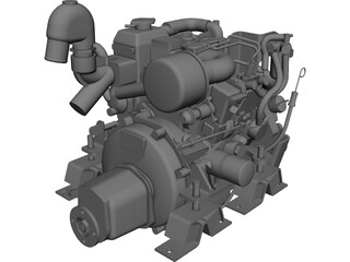 Yanmar 2cyl Engine CAD 3D Model