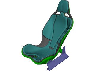 Carbon Fiber Seat with Rails 3D Model