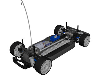 Tamiya TT01 RC Car Chassis CAD 3D Model