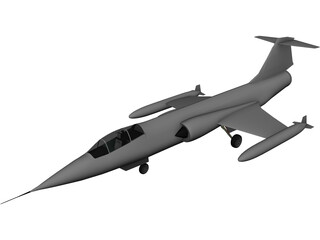 Lockheed F-104 Starfighter Jet Airplane 3D Model