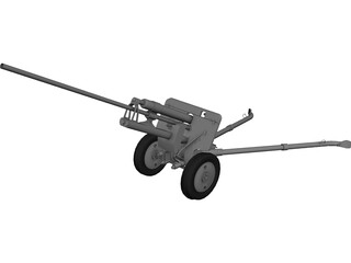 ZiS-2 57mm Anti-Tank Gun M1943 3D Model