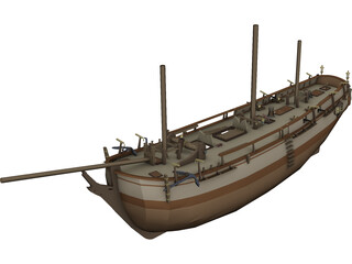 HMS Bounty with Interior 3D Model