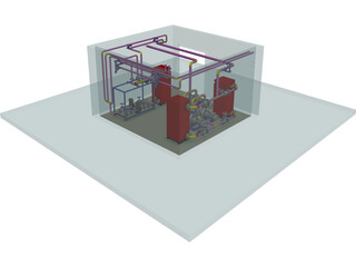 Electric Boiler Room CAD 3D Model