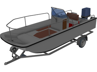 Whaler Boat on Trailer 3D Model