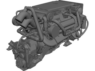Yanmar Marine Engine Diesel 8LV 320HP CAD 3D Model