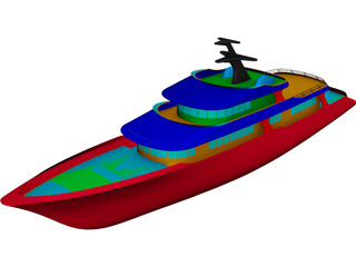 Super Yacht 155feet CAD 3D Model
